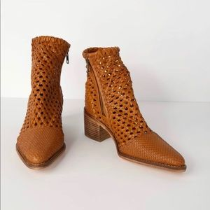 Free People- In The Loop Tan Leather Woven